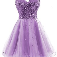 Simpledress Sweetheart Lace up Tulle Strapless Sequins Short Homecoming Dress