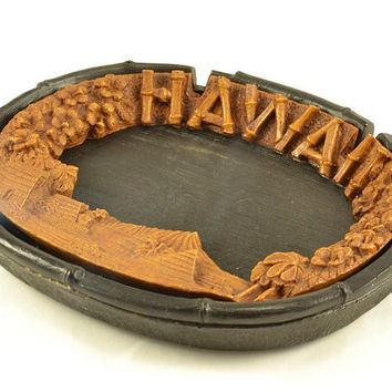 Lava Wood Ashtray Dish - Tiki Bar Hawaii -  - Bold Contrasting Black and Brown - Hawaii Souvenir