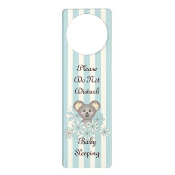 Cute Baby Animal Do Not Disturb Nursery Blue Door Hanger