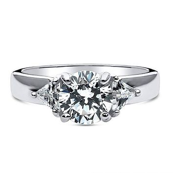A Perfect 1.5CT Round Cut Russian Lab Diamond Engagement Ring with Trillion Accents