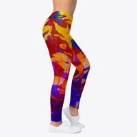 Abstract Dark Marble Pattern Leggings
