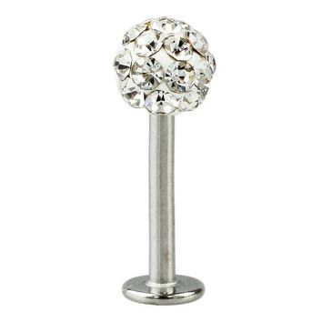 ac DCCKO2Q Cool Crystal Gem Stainless Steel Labret Piercing Stud good for Lip / Tragus / Ear Piercing silver+white