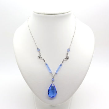 ART DECO/ EDWARDIAN Necklace Sky Blue Drop & Butterfly by Ward Brothers ca 1910