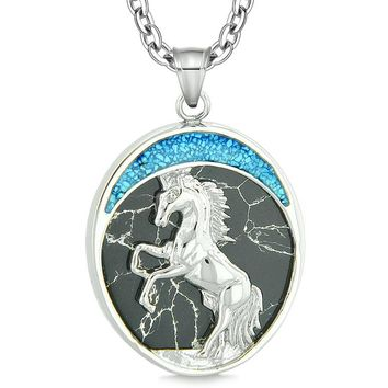Courage Horse Wild Moon Mustang Protection Powers Amulet Simulated Black Marble Pendant Necklace