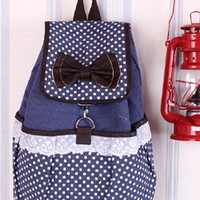 Cute Dot Bowknot Lace Canvas Backpack