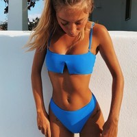 Sexy Ladies Summer Beach Pure Color V Type Simple Two Piece Bikini Swimsuit Bathing(4-Color) Blue I12247-1