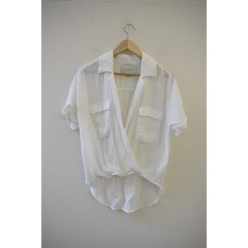 Brochu Walker White Drape Front Blouse