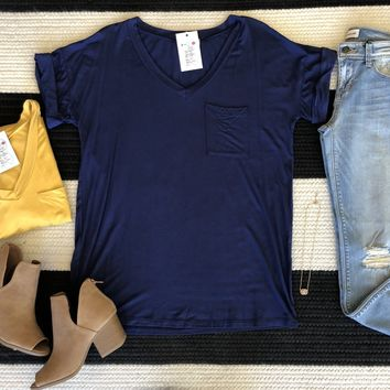 Basic V-Neck Tee in Mustard and Navy