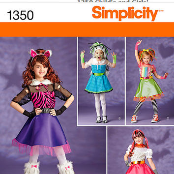 Catgirl Costume for Little Girls, Girls Costume Pattern, Kawaii Dress, New Simplicity 1350 Paper kPattern, Girls Skirt, Girls Cat Ears