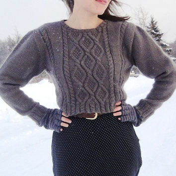 Cropped Aran Cable Sweater Women Size xs/s Hand Knit in Grey Wool READY TO SHIP