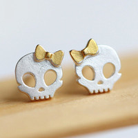 Authentic skull silver stud earring high quality sterling gold bowknot jewelry free shipping