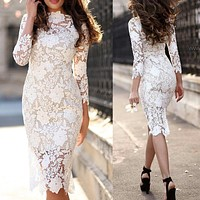 Fashion New Women's Sexy Lace Long Sleeve Pencil Skirt Mid-skirt