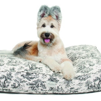 Toile Rectangle Dog Bed | Black
