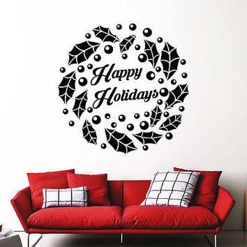 Christmas Wreath Wall Decals Holiday Decoration Home Door Window Art Decor MR896