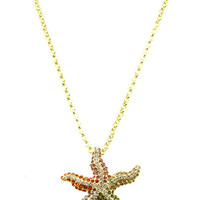 NECKLACE / PAVE CRYSTAL STONE / STARFISH PENDANT / METAL SETTING / LINK / CHAIN / 26 INCH LONG / 2 INCH DROP / NICKEL AND LEAD COMPLIANT