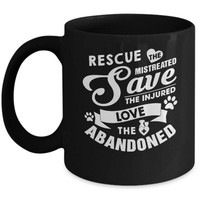 DCKIJ3 Rescue Save Love Animal Dog Lover Cat Lover Veterinarian Mug