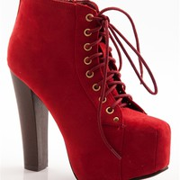 Shoe Deja Vu Faux Suede Lace Up High Heel Booties - Red