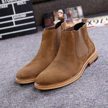 DCK7YE Men's Luxury Brand Vintage Genuine Leather Chelsea Boots Men West Boots New Fashion Se