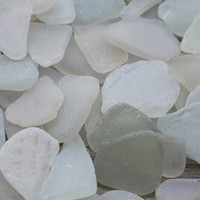 Off White -  Cream Sea Glass Bulk Beach Glass Wedding Glass 60 pcs