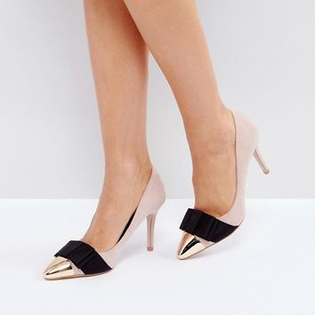 Miss KG Alyssa Nude Bow Court Shoes at asos.com