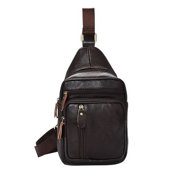 Brief Style Sling Chest Pack Genuine Leather Chest Bag Fashion Cowhide Mens