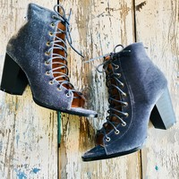 Velvet Lace Up Bootie