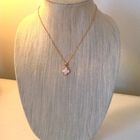 Gold and Moth of Pearl Clover Necklace