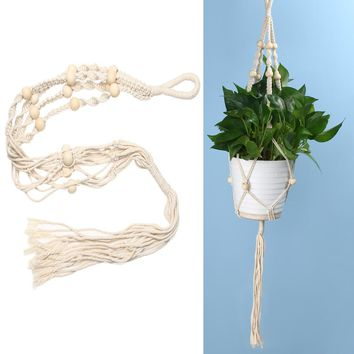 Plant Hanger Pot Holder 4 Leg Jute Rope Brown Handmade Macrame 40 Inch Home Garden Decoration Hanging Flower Display