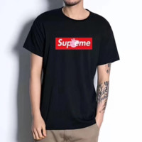 The Supreme Peppa pig summer new black and white printed t-shirts