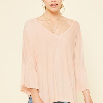 Ribbed Blush Bell Sleeve Tunic Top