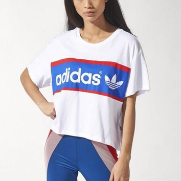 """Adidas"" Fashion print Movement Leisure Round Neck Short Sleeve Short Paragraph T-shirt"