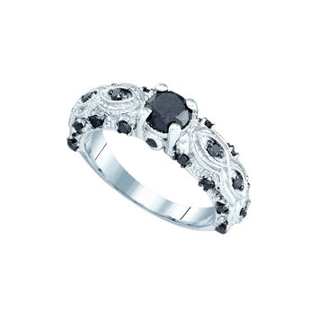 10kt White Gold Womens Round Black Colored Diamond Solitaire Bridal Wedding Engagement Ring 1.00 Cttw 82315
