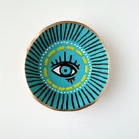 Evil Eye Hand Painted Jewelry Holder-Made to Order- Ring Holder- Engagement Ring Dish-Jewelry Dish- Home Decor Handmade Clay Ring Holder