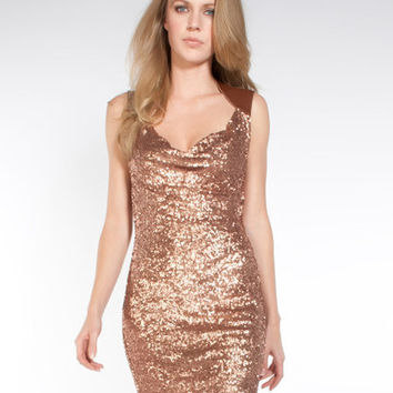 Bronze 'Rose' Leather-Trim Sequin Dress  Sexy Dresses