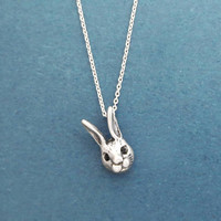 Black, Cubic, Eyes, Rabbit Silver, Necklace, Bunny, Animal, Necklace, Birthday, Best friends, Sister, Gift, Jewelry