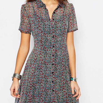 New Look Ditsy Print Button Through Tea Dress