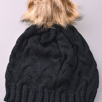 Pom Pom Thick Knit Beanie Hat - Black, Ivory or Taupe
