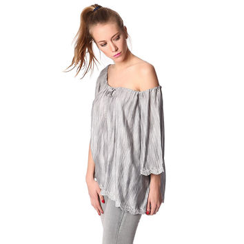 Gray off shoulder top in textured fabric with embroidered detail