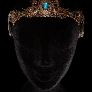 Dragon Crown Medieval Fantasy Renaissance Circlet Tiara Middle Age Bronze Khaleesi Daenerys Targaryen Game of Thrones Blue Turquoise