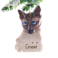 Personalized Siamese Cat Christmas Ornament - Siamese cat ornament handmade and painted in the USA