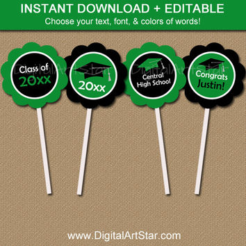 Kelly Green & Black Graduation Cupcake Toppers Printable - Graduation Party Decorations - EDITABLE Grad Party Cupcake Picks Instant Download
