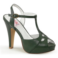 Pin Up Couture Bettie T-strap Green Heels