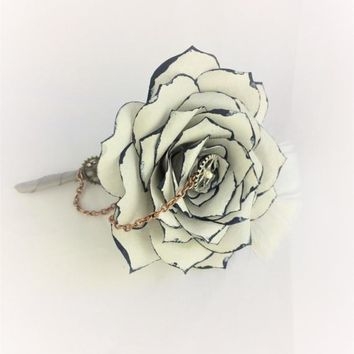 Steampunk silver and navy blue boutonniere using handcrafted paper roses, Men's buttonhole flower, Prom boutonniere