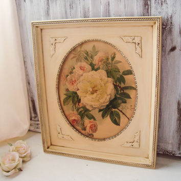 Vintage Ornate Oval Cream Frame with Rose Print Art, Shabby Chic Antique Cream Wood Framed Art, Cottage Chic, Floral Art