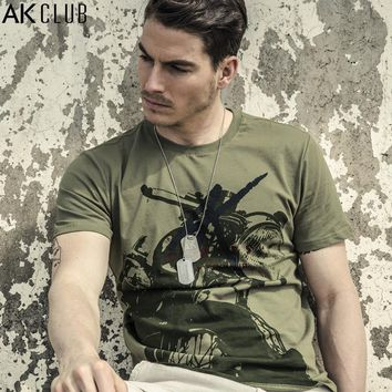 AK CLUB T-shirt Cuba Libre Series Motorcycle Print Tshirt Short Sleeve 100% Cotton T shirt O-Neck Casual Men T-shirt New 1600050