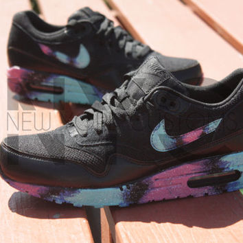 Nike Air Max 1 Black Galaxy Custom Men from NYCustoms on Etsy 79a8d16dd1