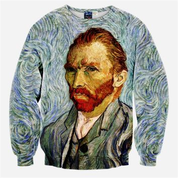 New 2017 Spring Women/Men 3D Sweatshirts Van gogh Printed Hoodies Casual Crewneck Pullovers Brand Design Harajuku Style Clothes