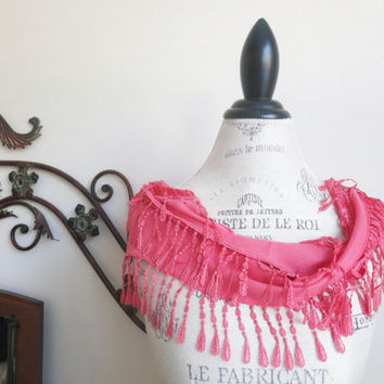 Coral Pink Cotton Lace Scarf Lively Stylish by SistersLace on Etsy