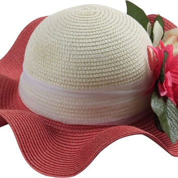 Dropship Stylish Two-Toned Wavy Wide Brim Straw Sun Hat with Large Pink Flower Accessory