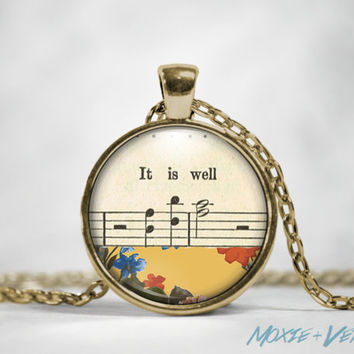 It Is Well Pendant Necklace, Hymn, Quote, Floral, Glass Photo Jewelry